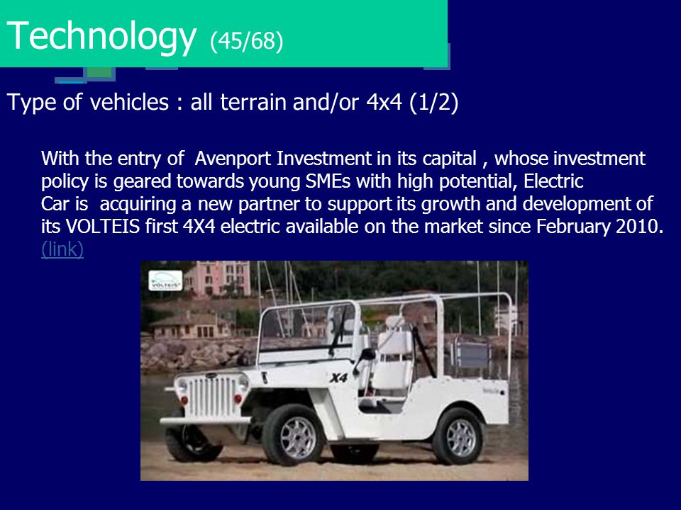 Technology (45/68) Type of vehicles : all terrain and/or 4x4 (1/2)