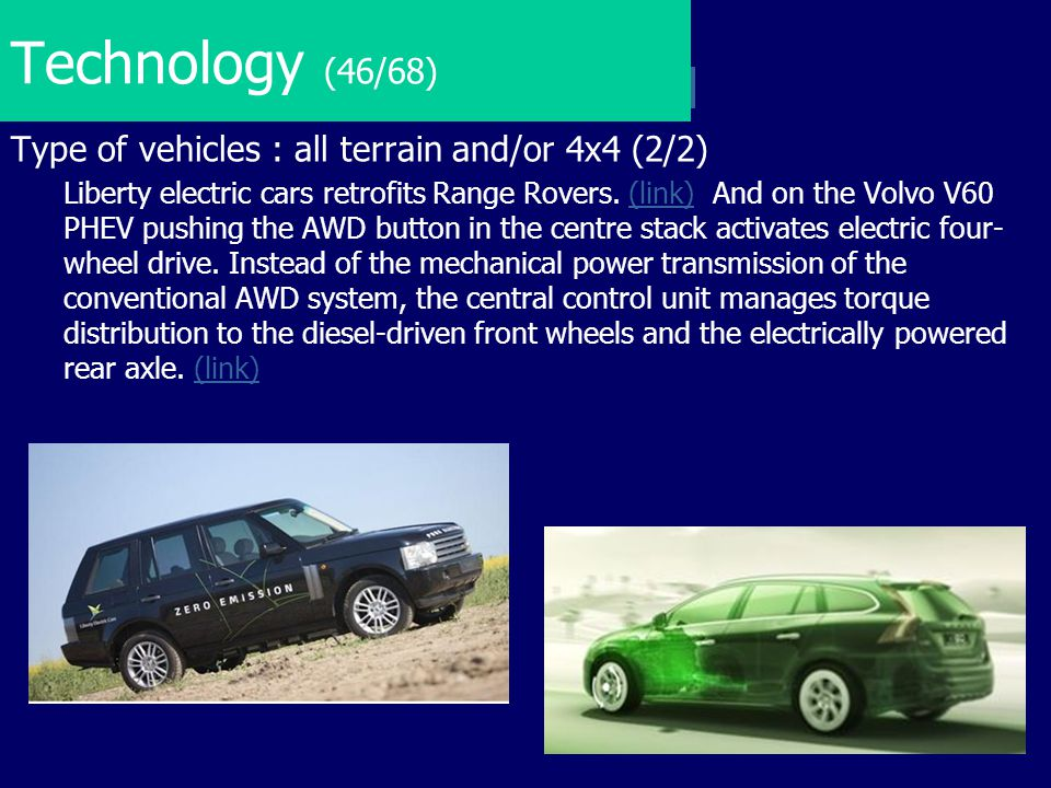 Technology (46/68) Type of vehicles : all terrain and/or 4x4 (2/2)