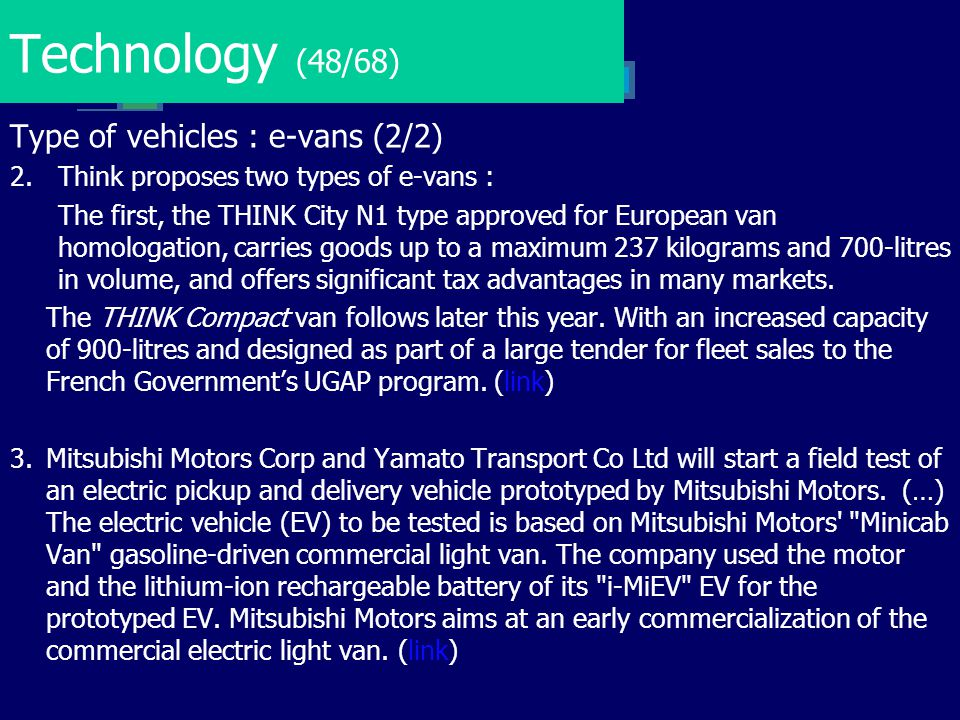 Technology (48/68) Type of vehicles : e-vans (2/2)
