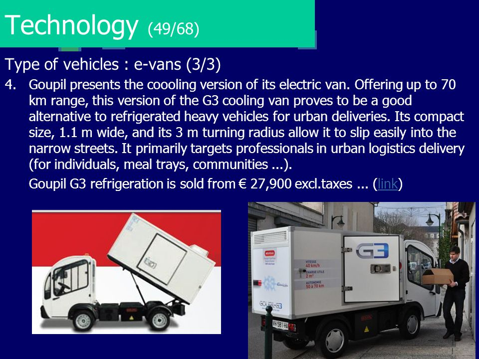 Technology (49/68) Type of vehicles : e-vans (3/3)