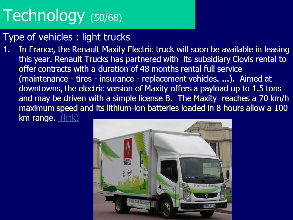 Technology (50/68) Type of vehicles : light trucks