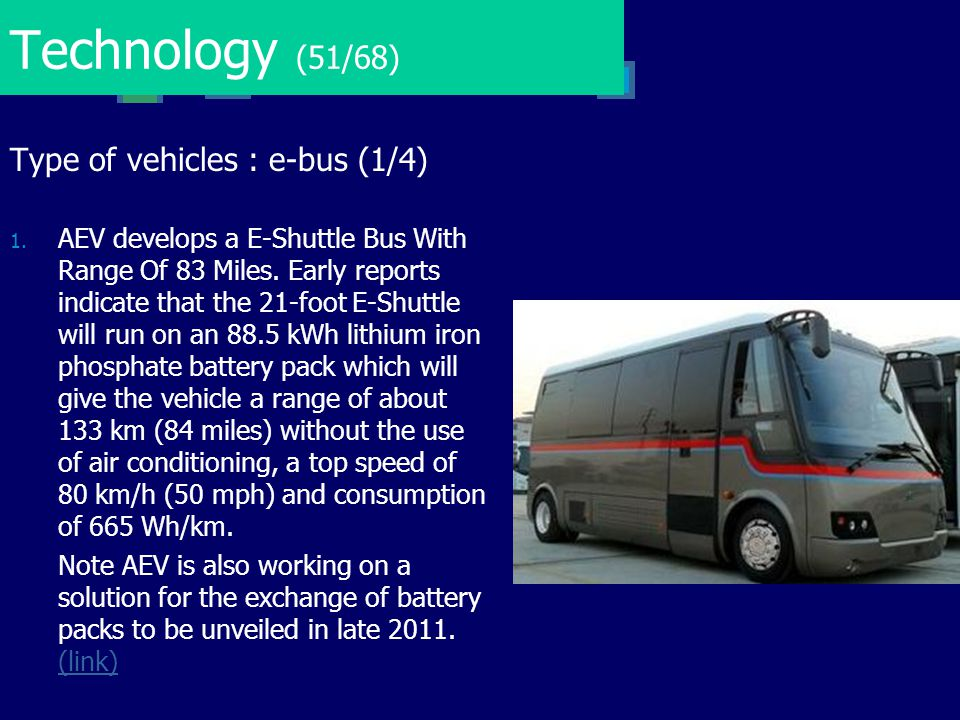 Technology (51/68) Type of vehicles : e-bus (1/4)