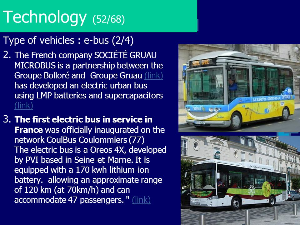 Technology (52/68) Type of vehicles : e-bus (2/4)