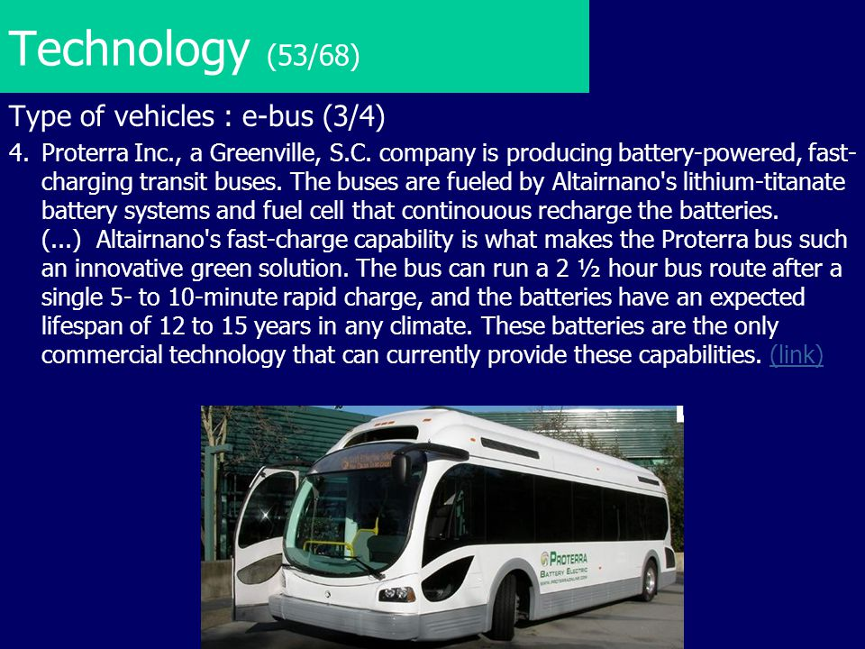 Technology (53/68) Type of vehicles : e-bus (3/4)
