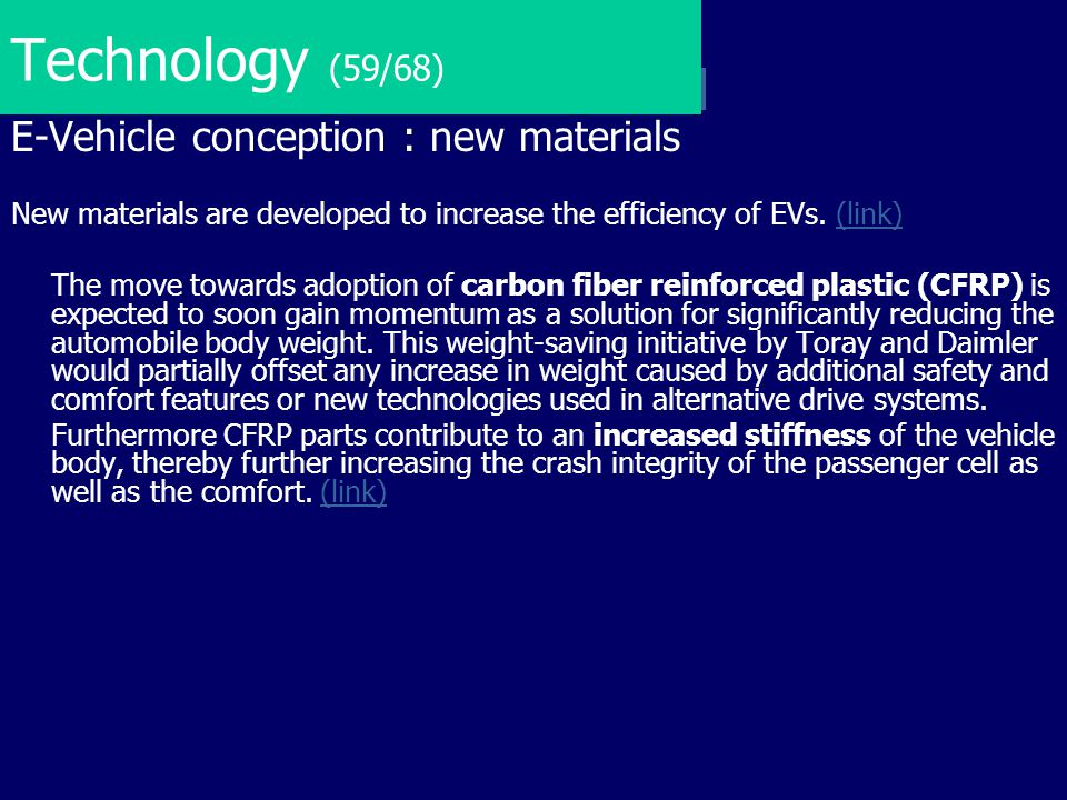 Technology (59/68) E-Vehicle conception : new materials