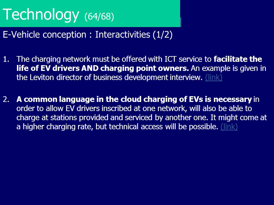 Technology (64/68) E-Vehicle conception : Interactivities (1/2)
