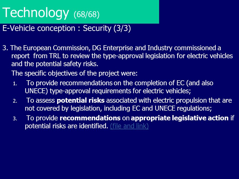 Technology (68/68) E-Vehicle conception : Security (3/3)