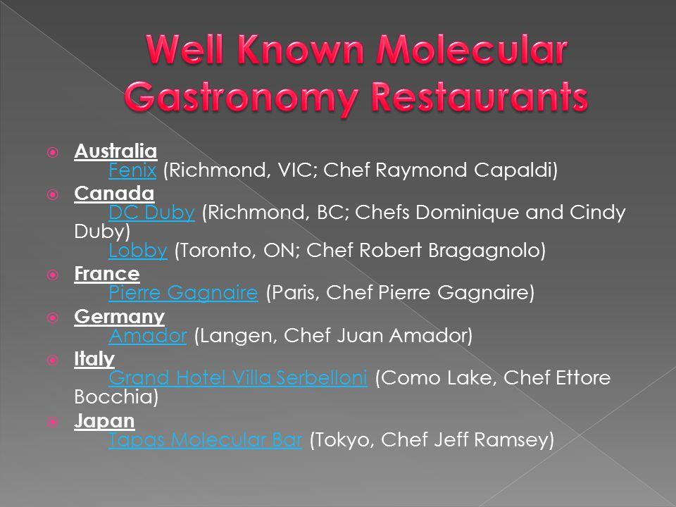 Well Known Molecular Gastronomy Restaurants