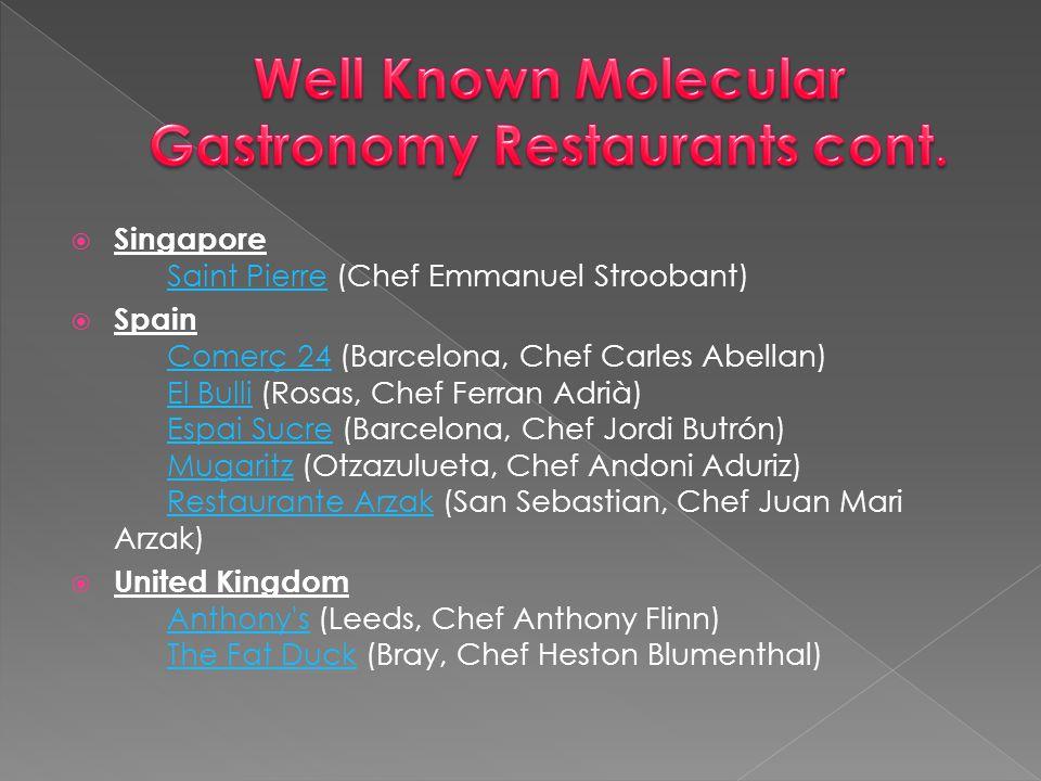 Well Known Molecular Gastronomy Restaurants cont.