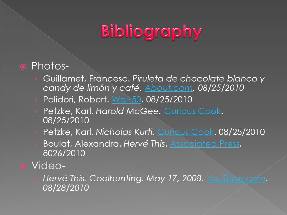 Bibliography Photos- Video-
