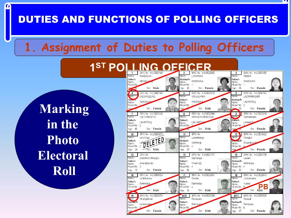 Marking in the Photo Electoral Roll