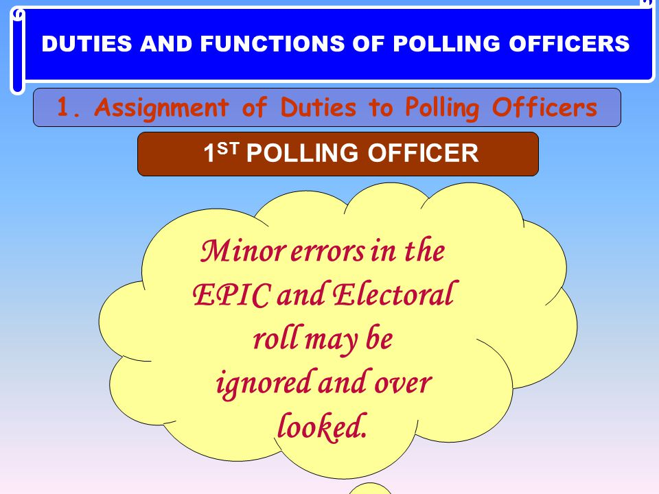 Minor errors in the EPIC and Electoral roll may be