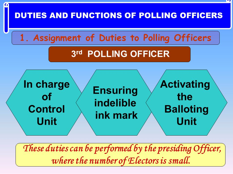 These duties can be performed by the presiding Officer,