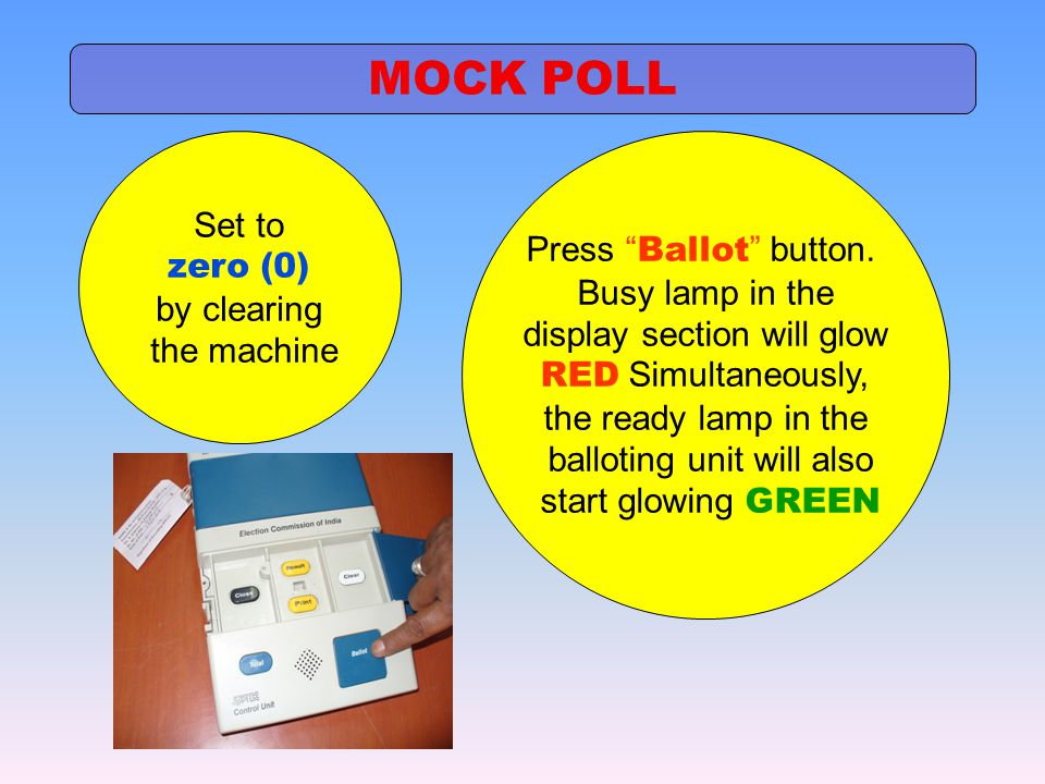 MOCK POLL Set to Press Ballot button. zero (0) Busy lamp in the