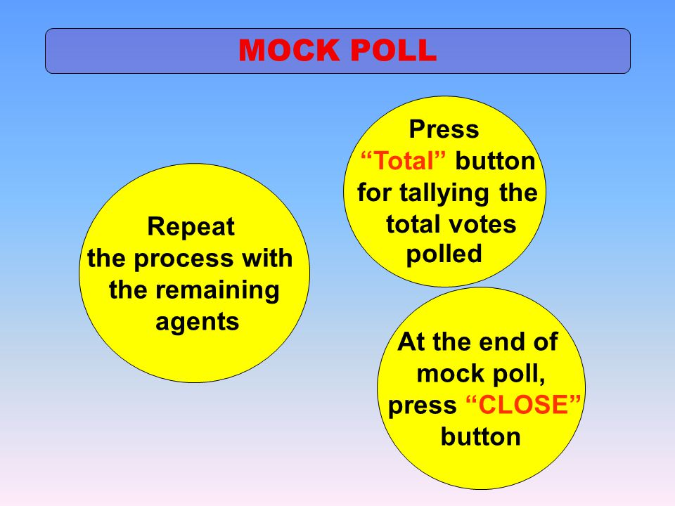 MOCK POLL Press Total button for tallying the total votes polled