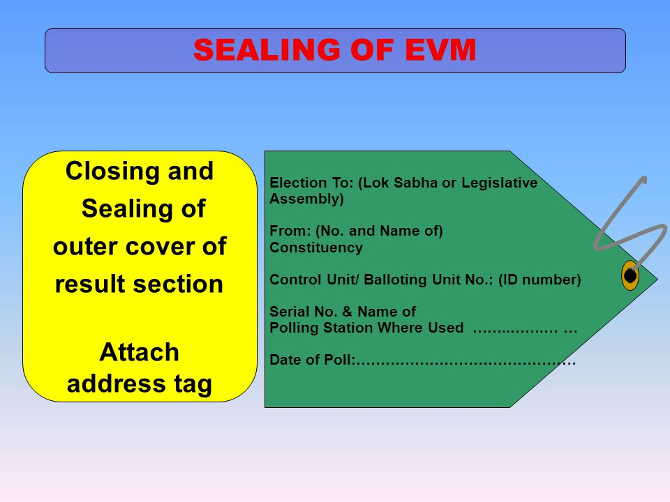 SEALING OF EVM Closing and Sealing of outer cover of result section