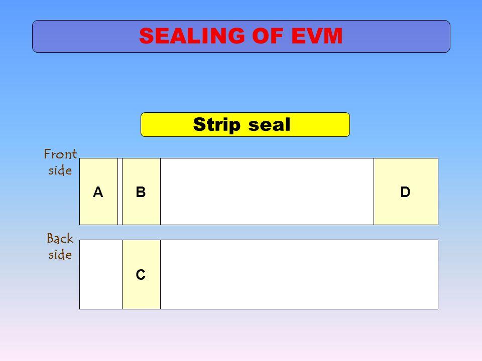 SEALING OF EVM Strip seal A B D Front side C Back side
