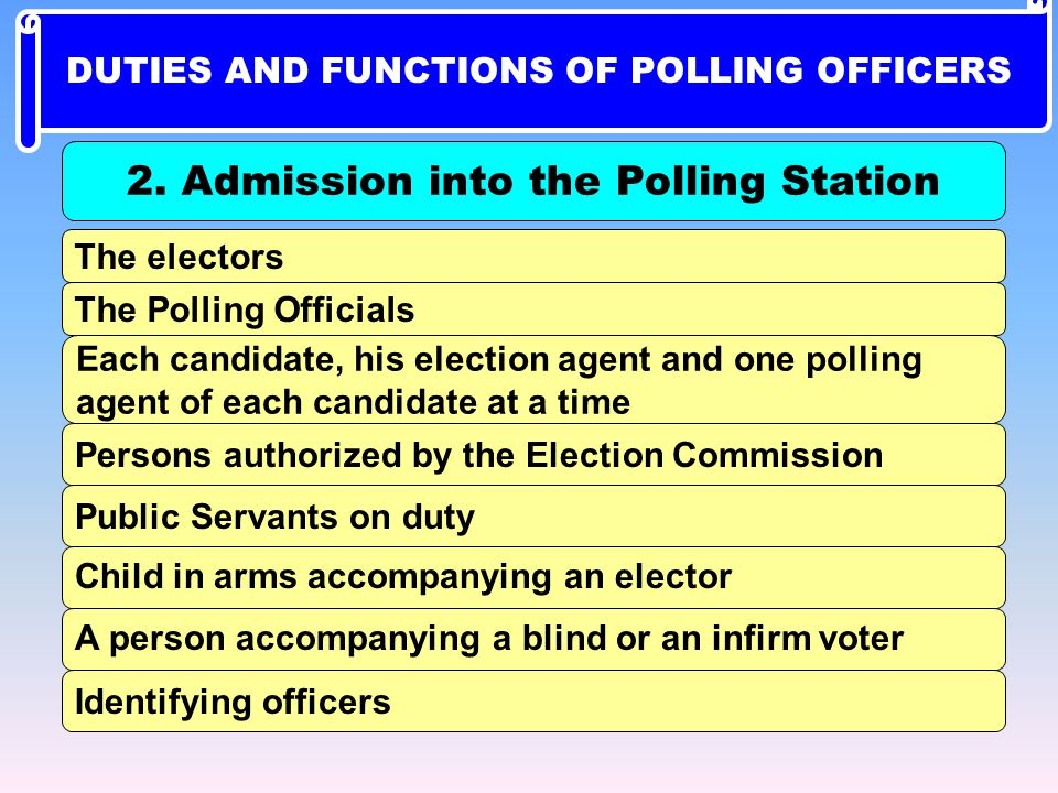 2. Admission into the Polling Station