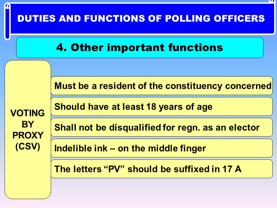 DUTIES AND FUNCTIONS OF POLLING OFFICERS 4. Other important functions