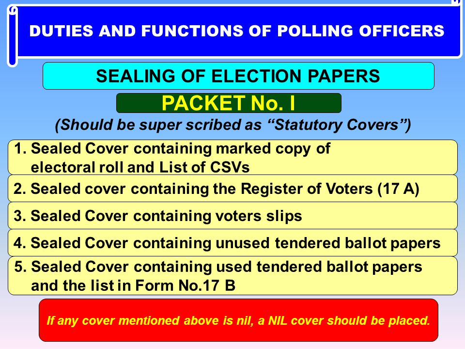 PACKET No. I SEALING OF ELECTION PAPERS