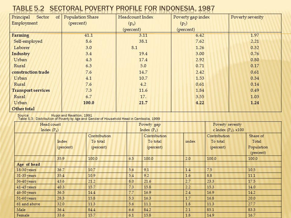 Table 5.2 Sectoral Poverty Profile for Indonesia, 1987