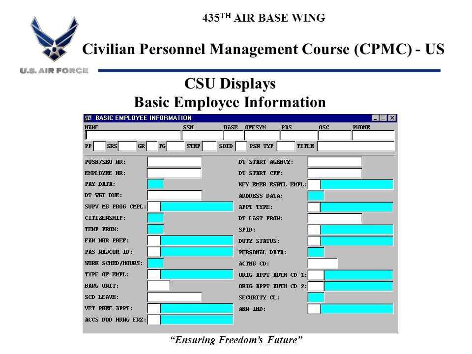 Basic Employee Information Ensuring Freedom's Future