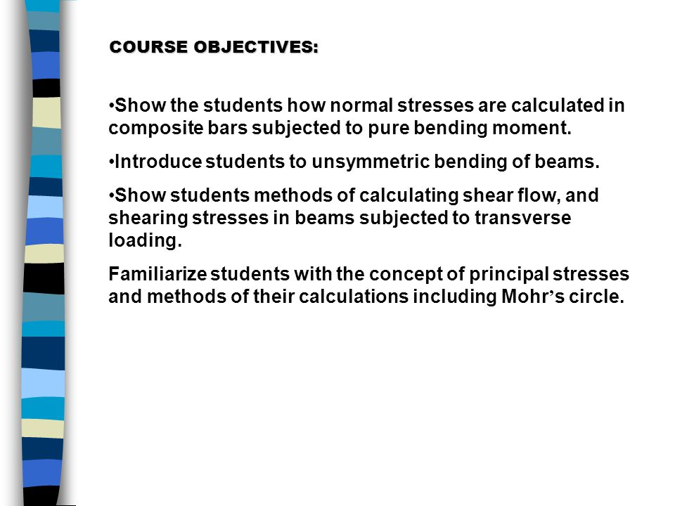 Introduce students to unsymmetric bending of beams.