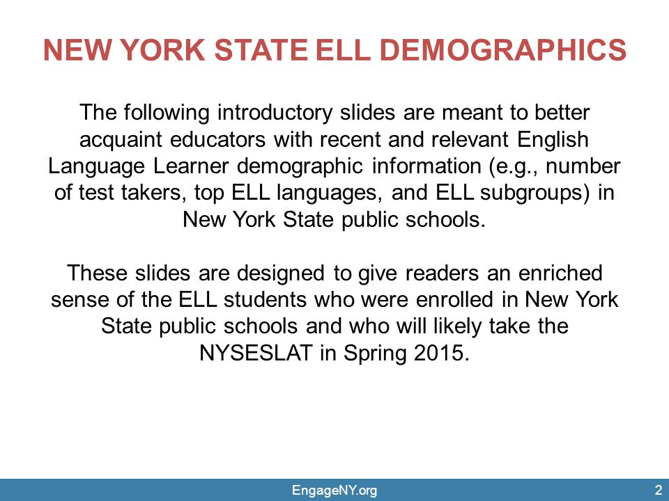 NEW YORK STATE ELL DEMOGRAPHICS