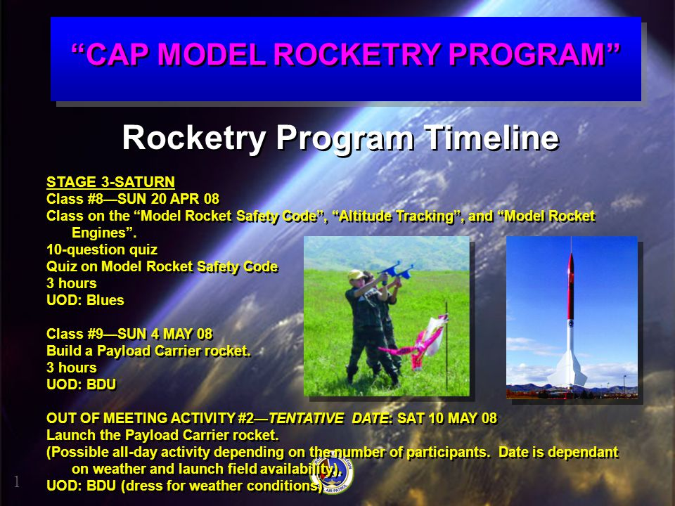 CAP MODEL ROCKETRY PROGRAM Rocketry Program Timeline
