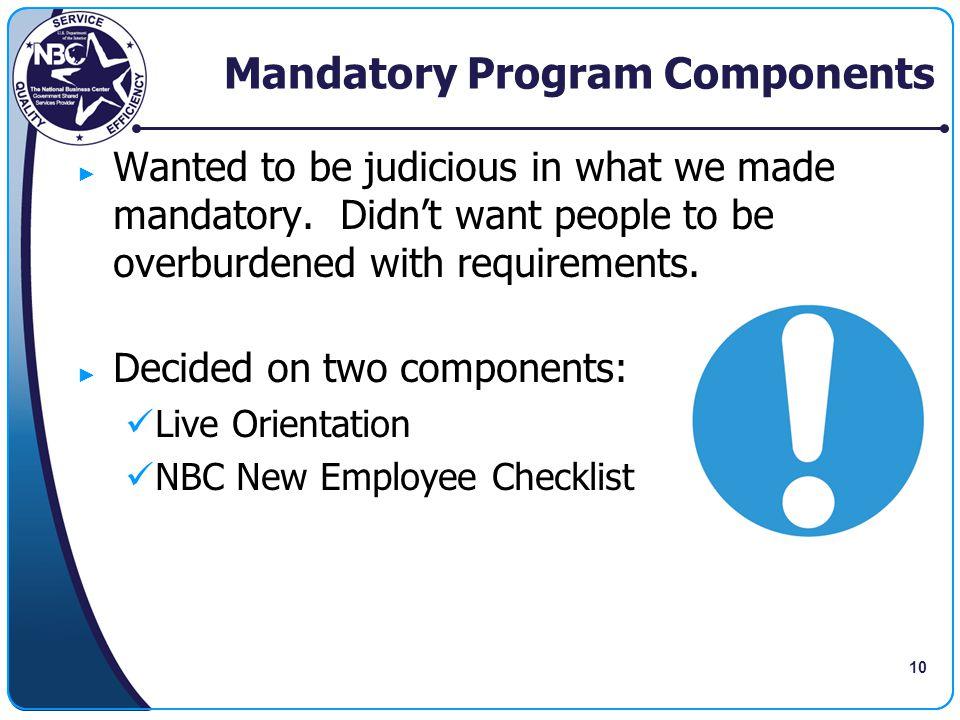 Mandatory Program Components