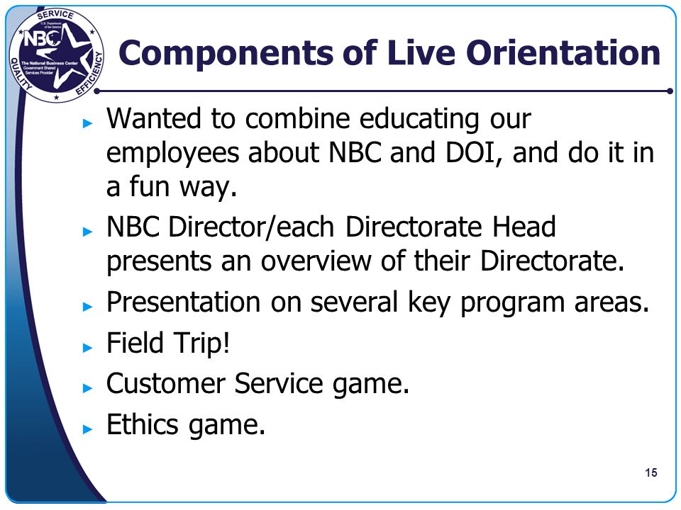 Components of Live Orientation