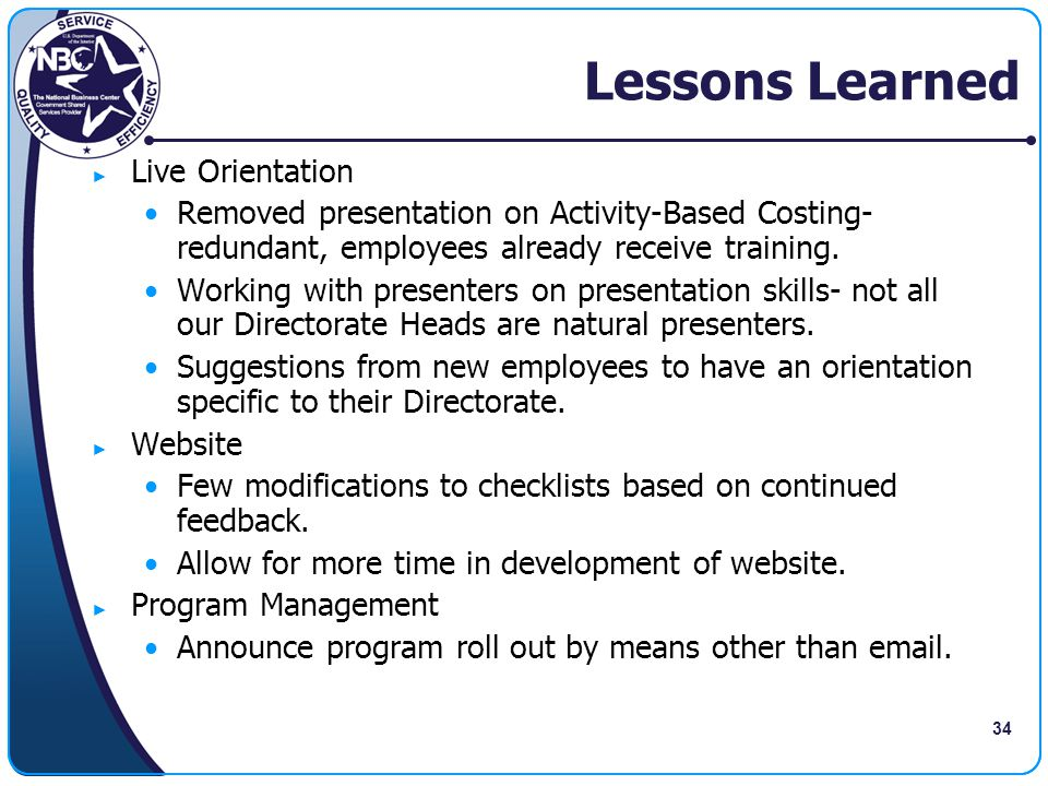 Lessons Learned Live Orientation