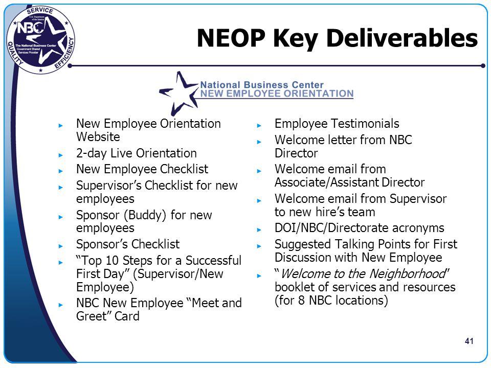 NEOP Key Deliverables New Employee Orientation Website