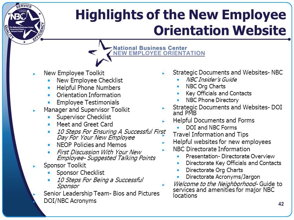 Highlights of the New Employee Orientation Website