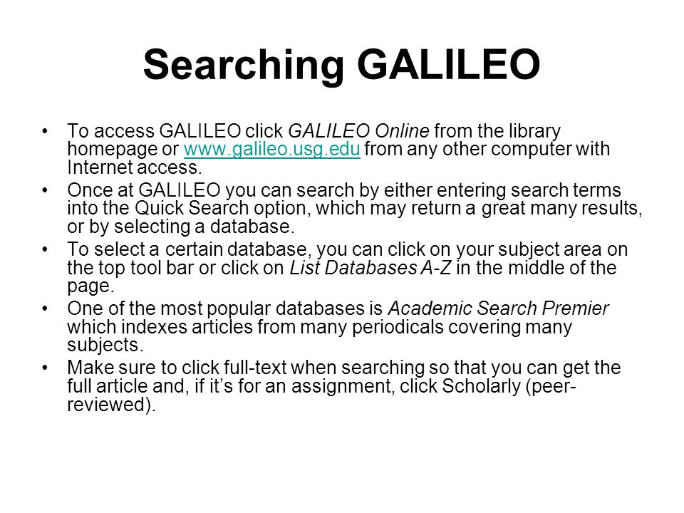 Searching GALILEO