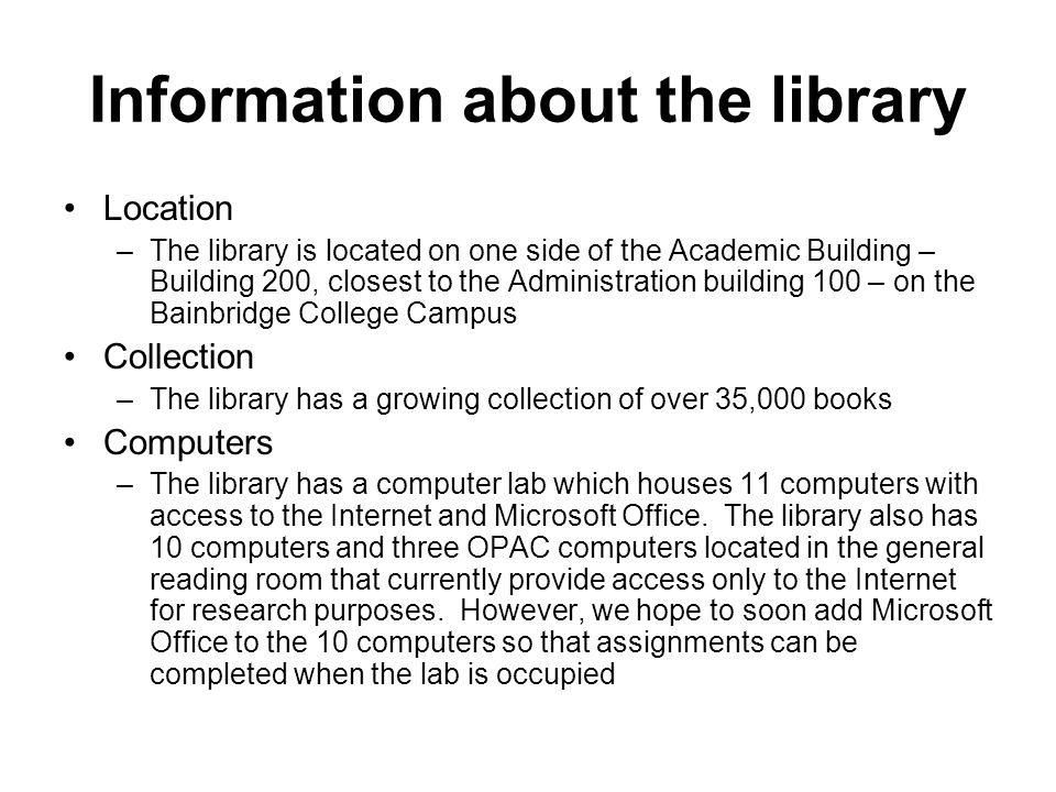 Information about the library