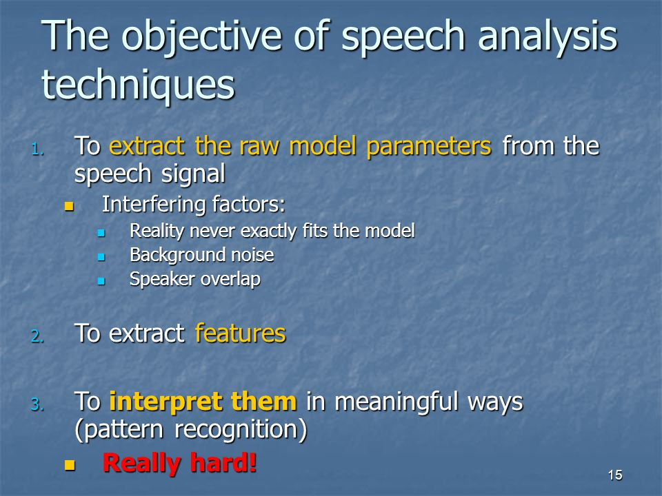 The objective of speech analysis techniques