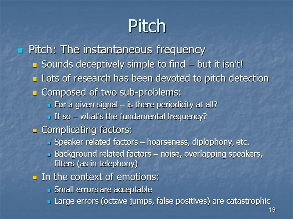 Pitch Pitch: The instantaneous frequency