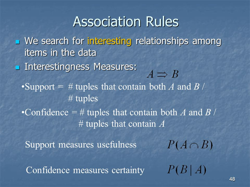 Association Rules We search for interesting relationships among items in the data. Interestingness Measures: