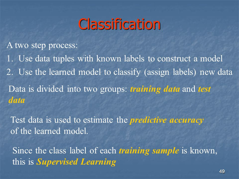 Classification A two step process:
