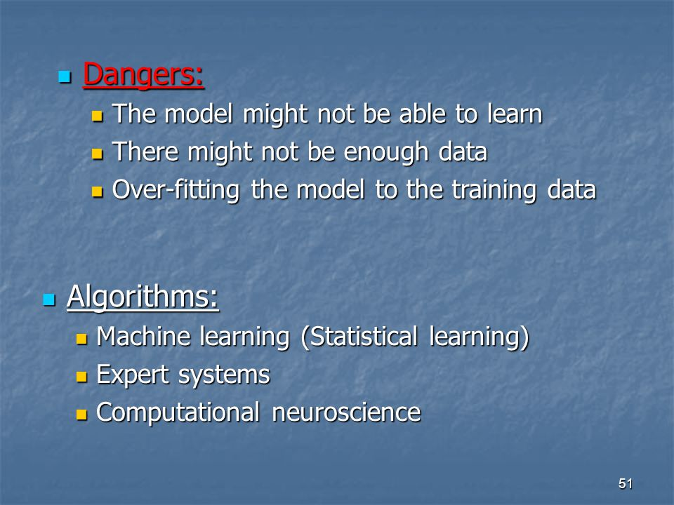 Dangers: Algorithms: The model might not be able to learn