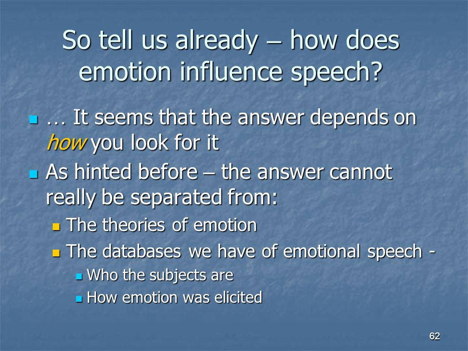 So tell us already – how does emotion influence speech