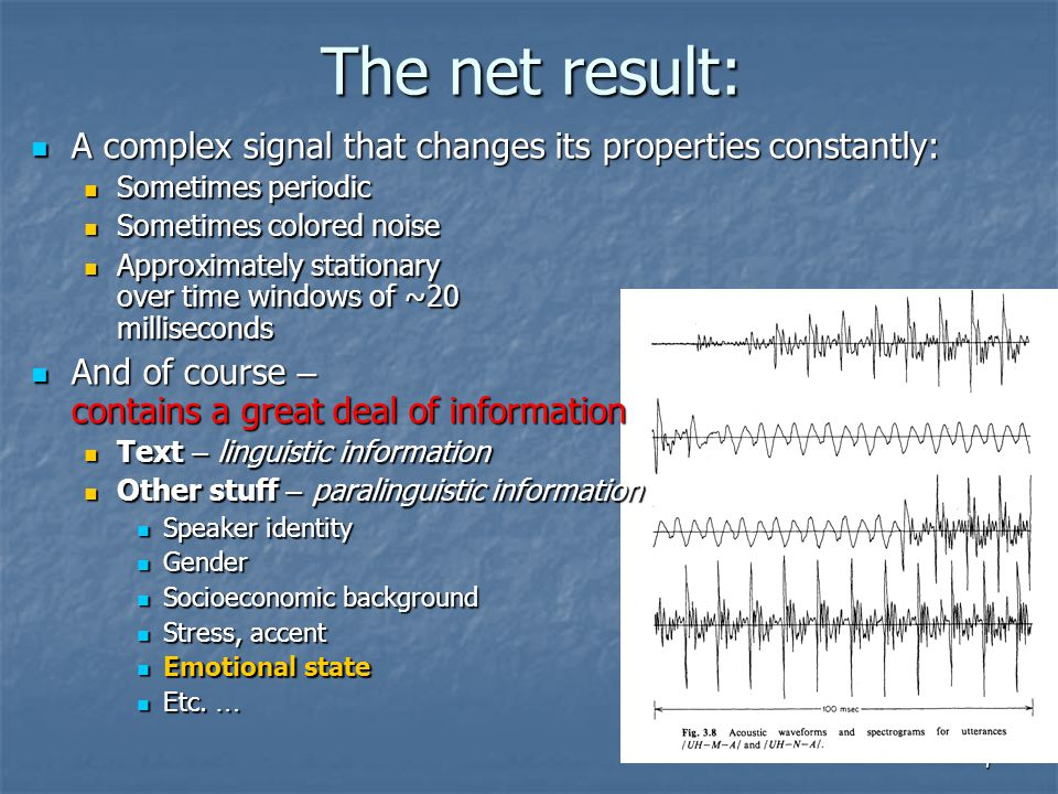 The net result: A complex signal that changes its properties constantly: Sometimes periodic. Sometimes colored noise.