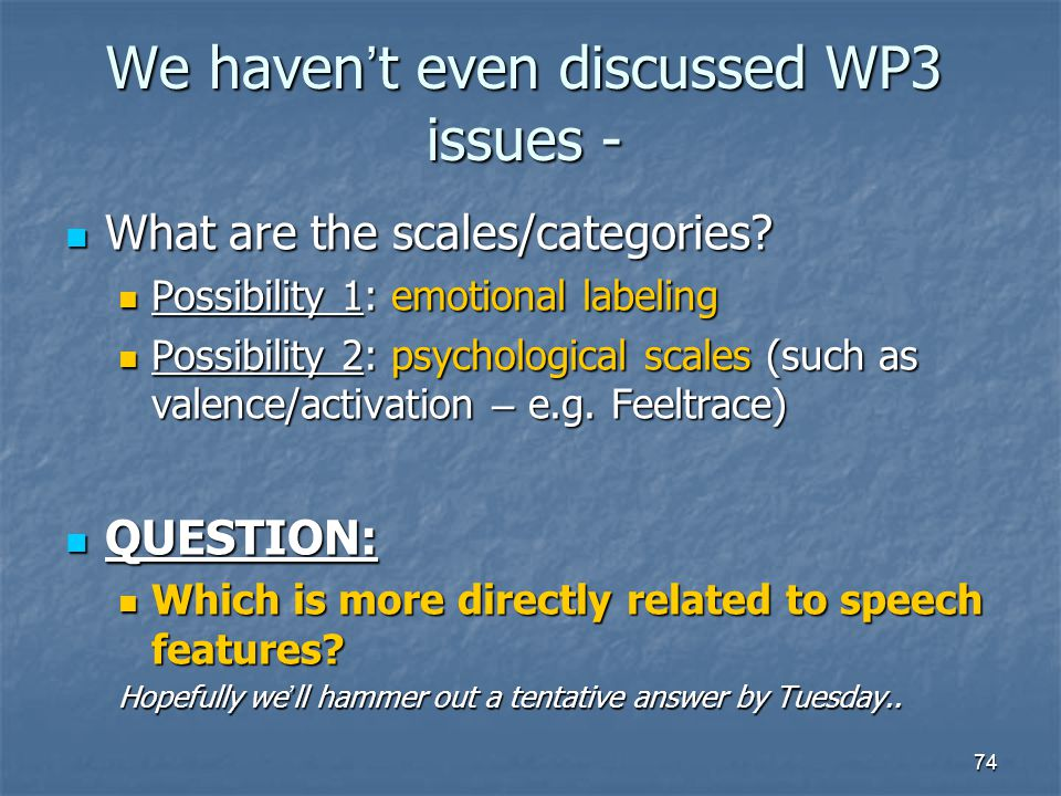 We haven't even discussed WP3 issues -
