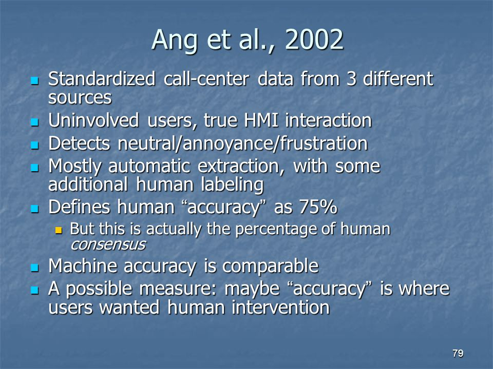 Ang et al., 2002 Standardized call-center data from 3 different sources. Uninvolved users, true HMI interaction.