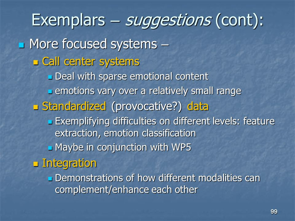 Exemplars – suggestions (cont):