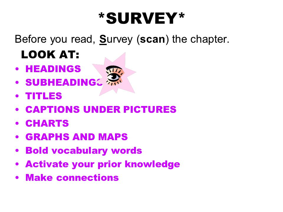 *SURVEY* Before you read, Survey (scan) the chapter. LOOK AT: HEADINGS
