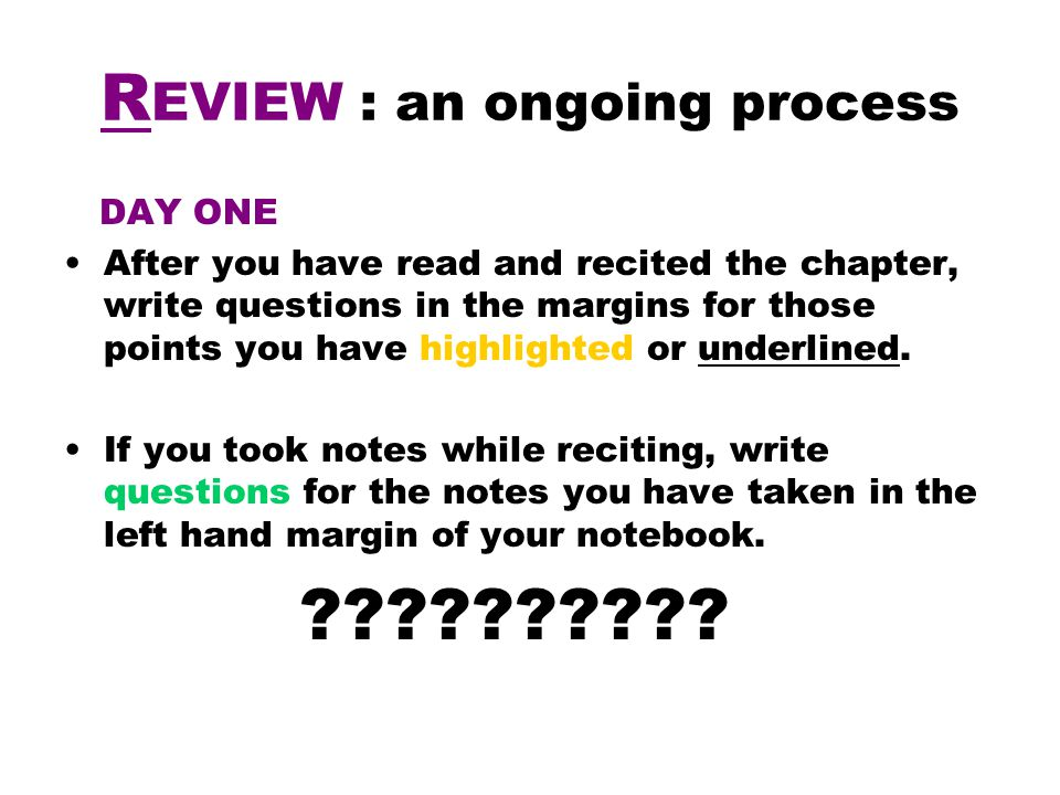 REVIEW : an ongoing process