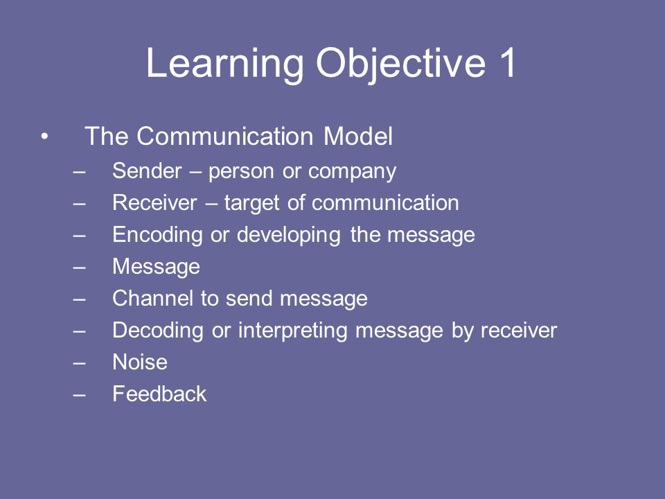 Learning Objective 1 The Communication Model
