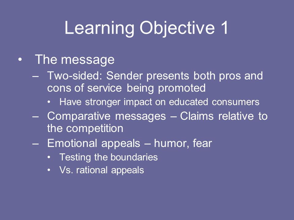Learning Objective 1 The message
